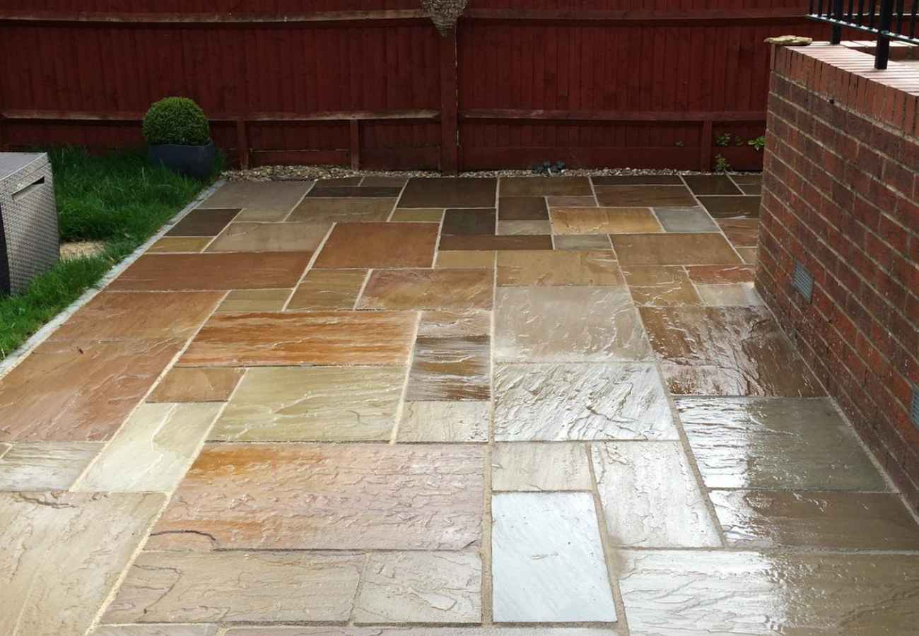 stone patio in various colours